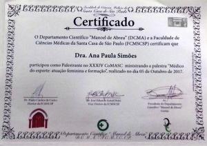 Certificado Palestrante Comasc
