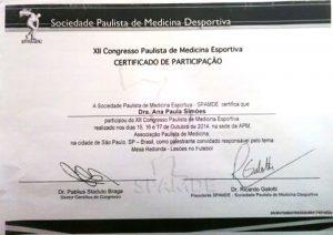 Certificado de Participação Sociedade Paulista de Medicina Desportiva