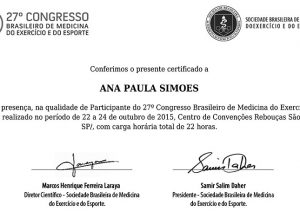 Congresso Brasileiro de Medicina do Exercício e do Esporte