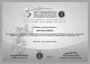 Participante do 28º Congresso Brasileiro de Medicina do Exercício e do Esporte