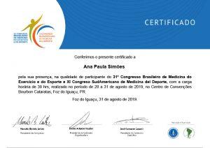 Participante do 31° Congresso Brasileiro de Medicina do Exercício e do Esporte