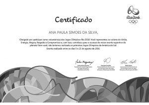 Certificado de atuação nos Jogos Olímpicos Rio 2016